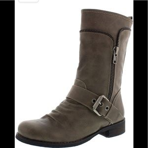 """SoftMoc grey """"Bellamy"""" buckle and zipper moto faux leather boots Size 37"""